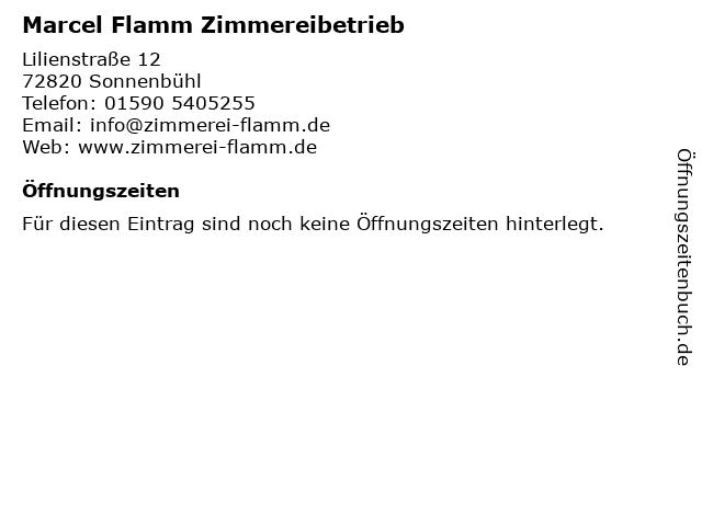 Marcel Flamm Zimmereibetrieb in Sonnenbühl: Adresse und Öffnungszeiten