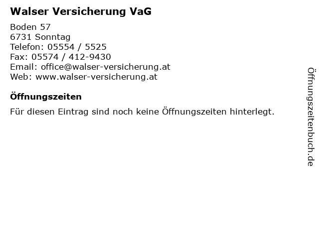 Walser Versicherung VaG in Sonntag: Adresse und Öffnungszeiten