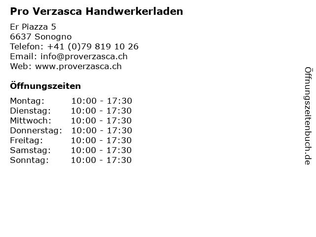 Pro Verzasca Handwerkerladen in Sonogno: Adresse und Öffnungszeiten