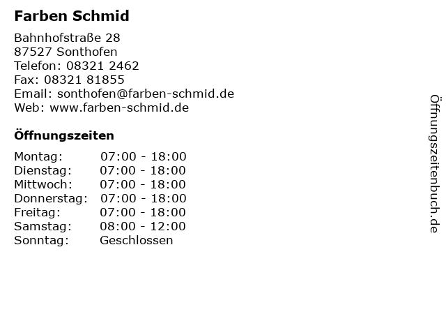 Farben Schmid Sonthofen.ᐅ öffnungszeiten Farben Schmid Bahnhofstraße 28 In