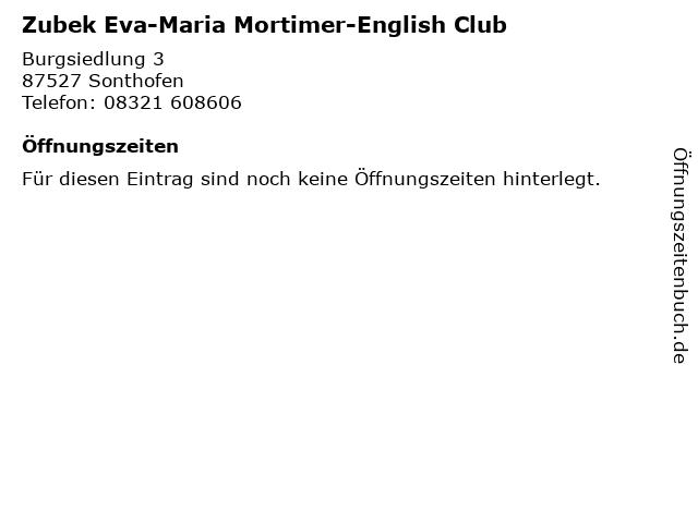 Zubek Eva-Maria Mortimer-English Club in Sonthofen: Adresse und Öffnungszeiten