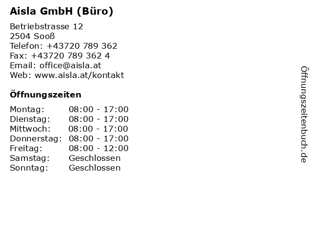 Aisla GmbH (Büro) in Sooß: Adresse und Öffnungszeiten