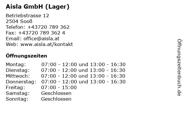 Aisla GmbH (Lager) in Sooß: Adresse und Öffnungszeiten