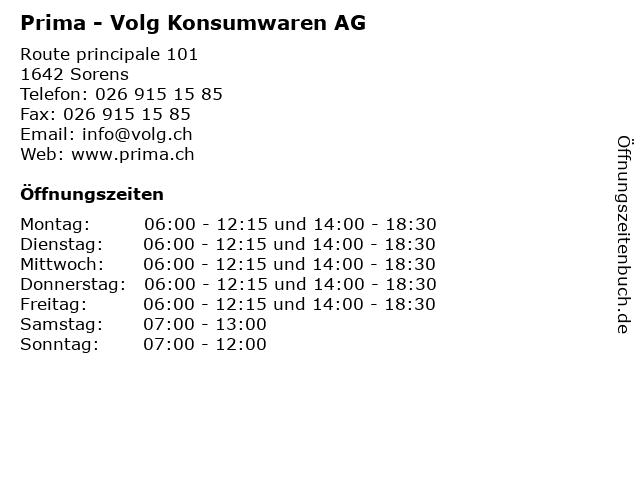 Prima - Volg Konsumwaren AG in Sorens: Adresse und Öffnungszeiten