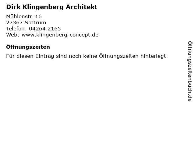 Dirk Klingenberg Architekt in Sottrum: Adresse und Öffnungszeiten