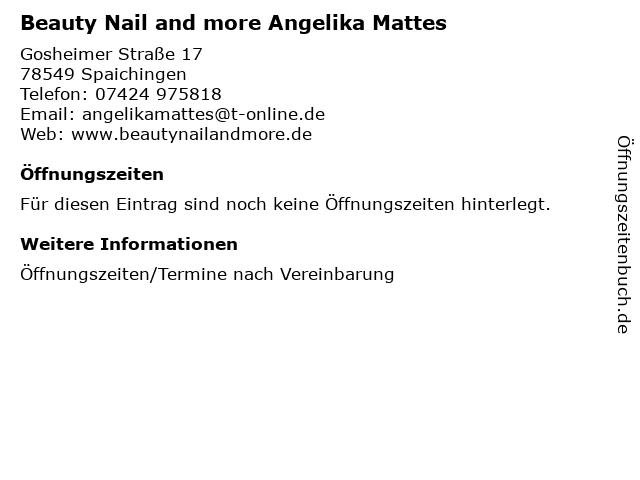 Beauty Nail and more Angelika Mattes in Spaichingen: Adresse und Öffnungszeiten