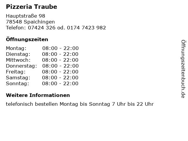 Konditorei-Cafe Traube in Spaichingen: Adresse und Öffnungszeiten