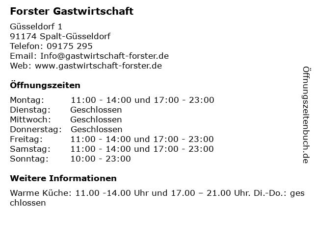 Forster Gastwirtschaft in Spalt-Güsseldorf: Adresse und Öffnungszeiten