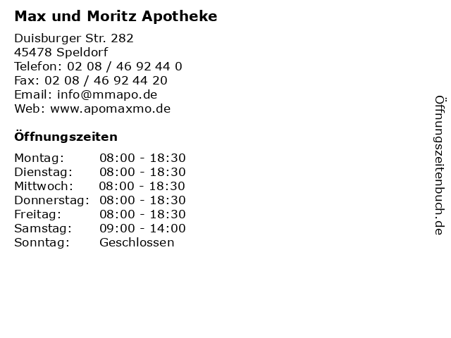 Max und Moritz Apotheke in Speldorf: Adresse und Öffnungszeiten