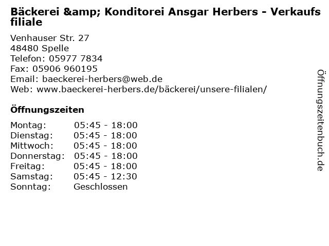 Bäckerei & Konditorei Ansgar Herbers - Verkaufsfiliale in Spelle: Adresse und Öffnungszeiten