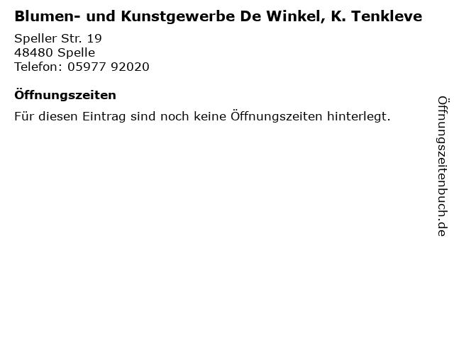 Blumen- und Kunstgewerbe De Winkel, K. Tenkleve in Spelle: Adresse und Öffnungszeiten
