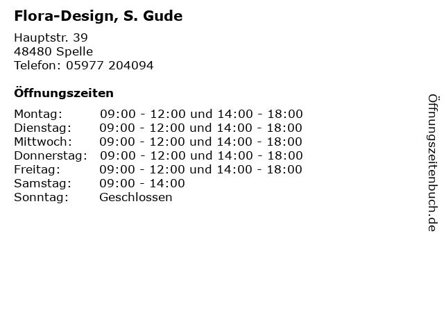 Flora-Design, S. Gude in Spelle: Adresse und Öffnungszeiten