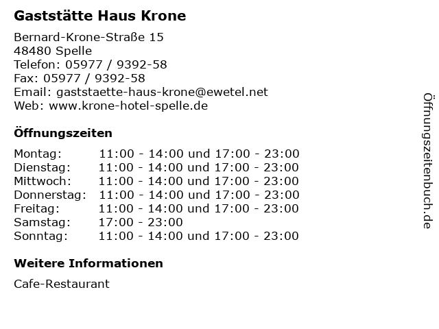 Gaststätte Haus Krone in Spelle: Adresse und Öffnungszeiten