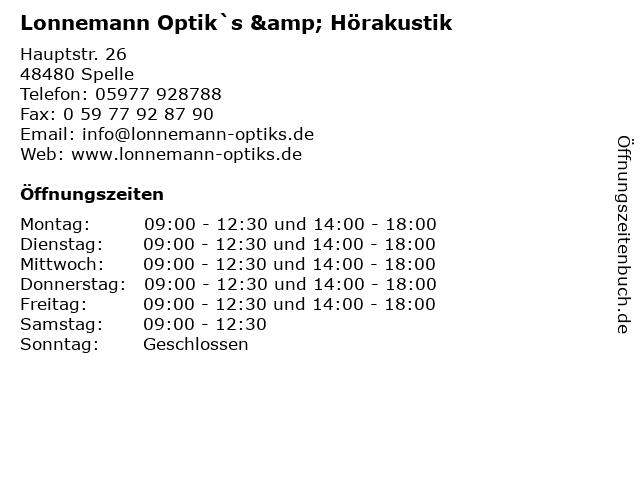 Lonnemann Optik`s & Hörakustik in Spelle: Adresse und Öffnungszeiten