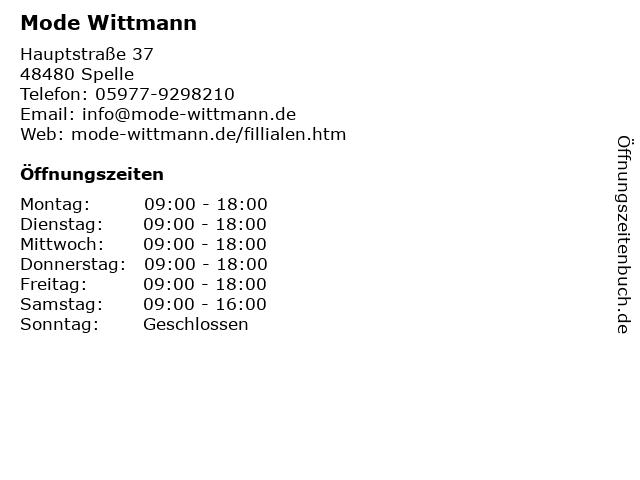 Mode Wittmann in Spelle: Adresse und Öffnungszeiten