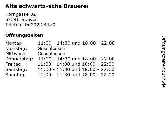 Alte schwartz-sche Brauerei in Speyer: Adresse und Öffnungszeiten
