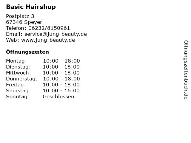 Basic Hairshop in Speyer: Adresse und Öffnungszeiten