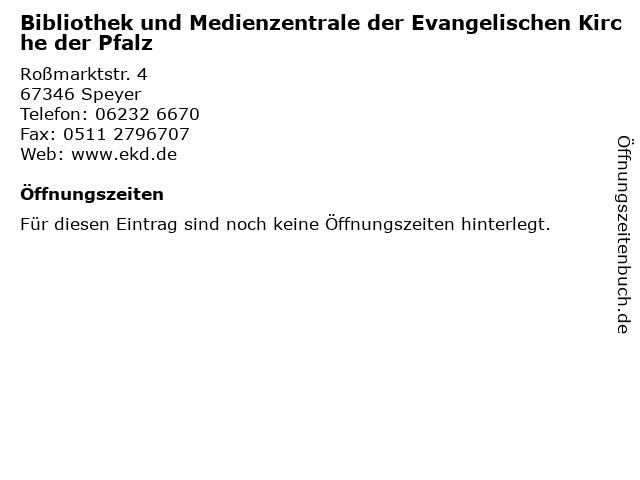 Bibliothek und Medienzentrale der Evangelischen Kirche der Pfalz in Speyer: Adresse und Öffnungszeiten