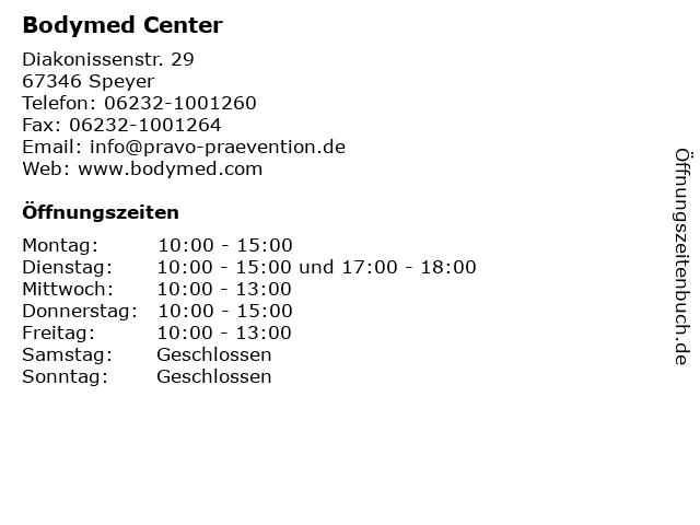 Bodymed Center in Speyer: Adresse und Öffnungszeiten