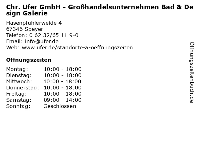 Chr. Ufer GmbH - Großhandelsunternehmen in Speyer: Adresse und Öffnungszeiten