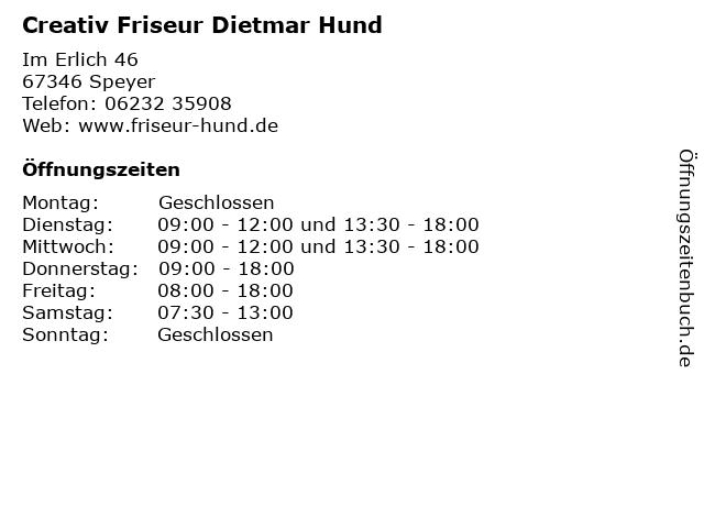 Creativ Friseur Dietmar Hund in Speyer: Adresse und Öffnungszeiten