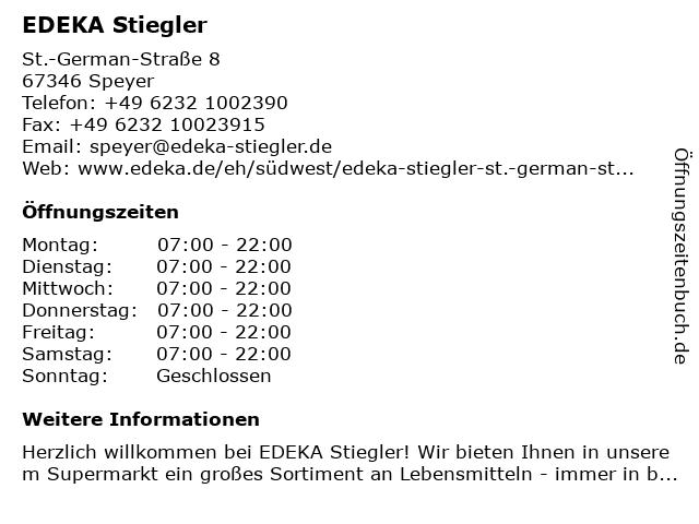 EDEKA Stiegler in Speyer: Adresse und Öffnungszeiten