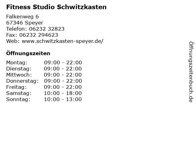 Fitness Studio Schwitzkasten in Speyer: Adresse und Öffnungszeiten