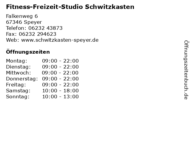 Fitness-Freizeit-Studio Schwitzkasten in Speyer: Adresse und Öffnungszeiten