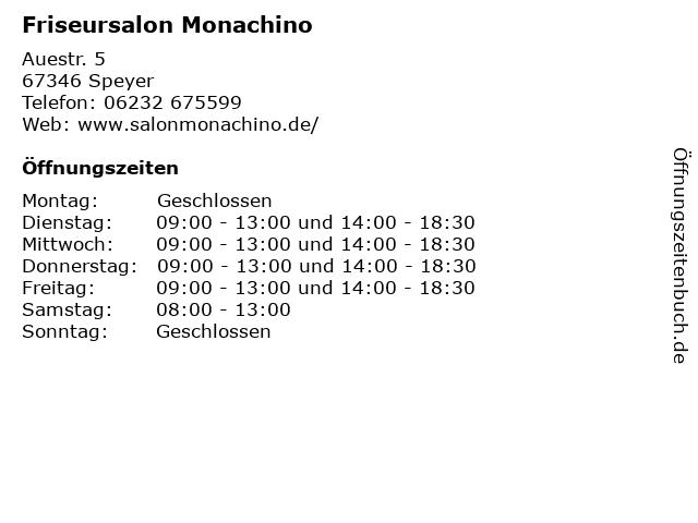 Friseursalon Monachino in Speyer: Adresse und Öffnungszeiten
