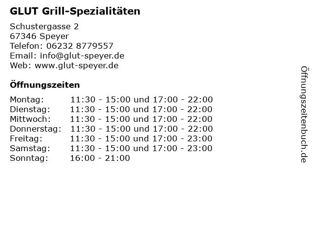 GLUT Grill-Spezialitäten in Speyer: Adresse und Öffnungszeiten