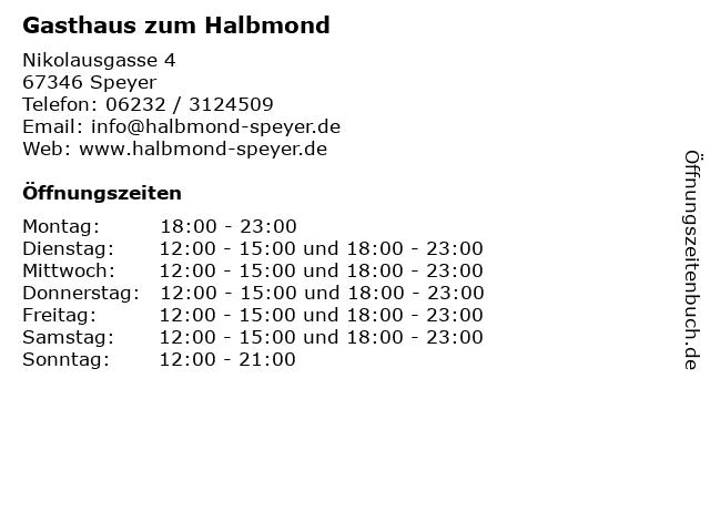Gasthaus zum Halbmond in Speyer: Adresse und Öffnungszeiten
