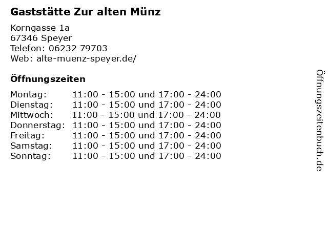 ᐅ öffnungszeiten Gaststätte Zur Alten Münz Korngasse 1a In Speyer