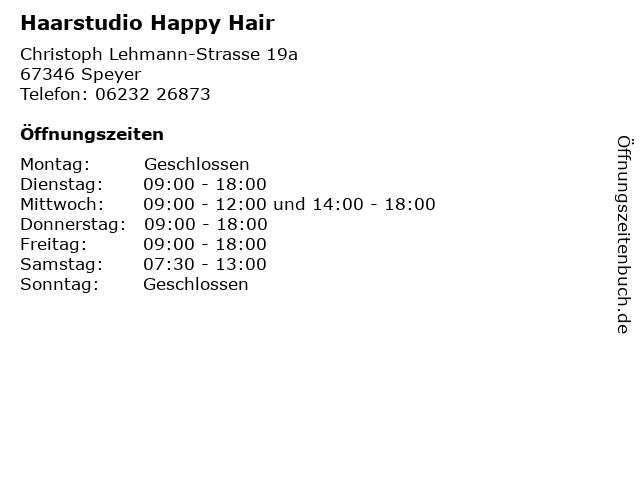 Haarstudio Happy Hair in Speyer: Adresse und Öffnungszeiten
