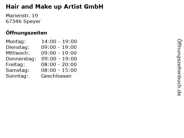 Hair and Make up Artist GmbH in Speyer: Adresse und Öffnungszeiten