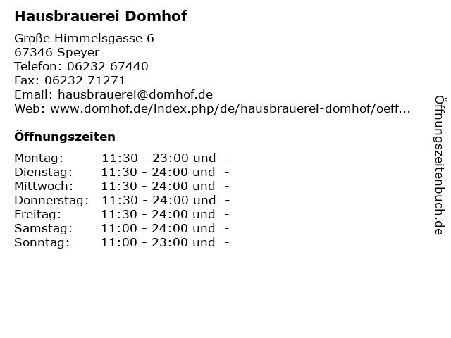 Hausbrauerei Domhof in Speyer: Adresse und Öffnungszeiten