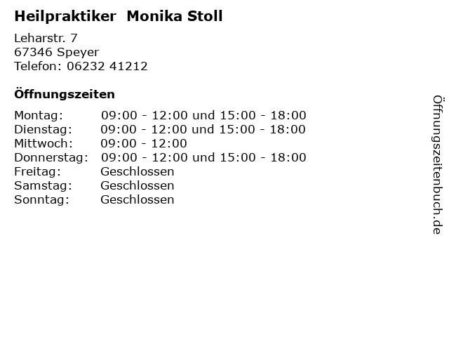 Heilpraktiker  Monika Stoll in Speyer: Adresse und Öffnungszeiten