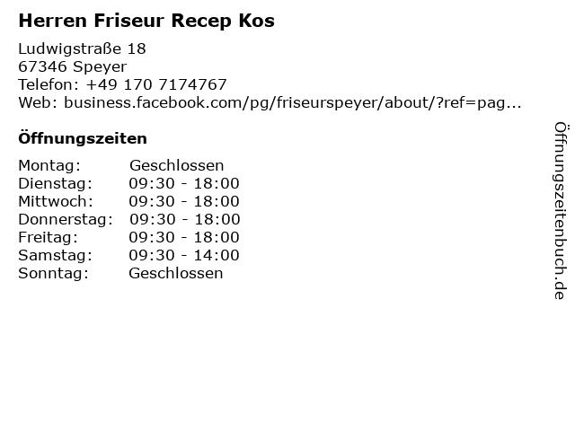 Herren Friseur Recep Kos in Speyer: Adresse und Öffnungszeiten
