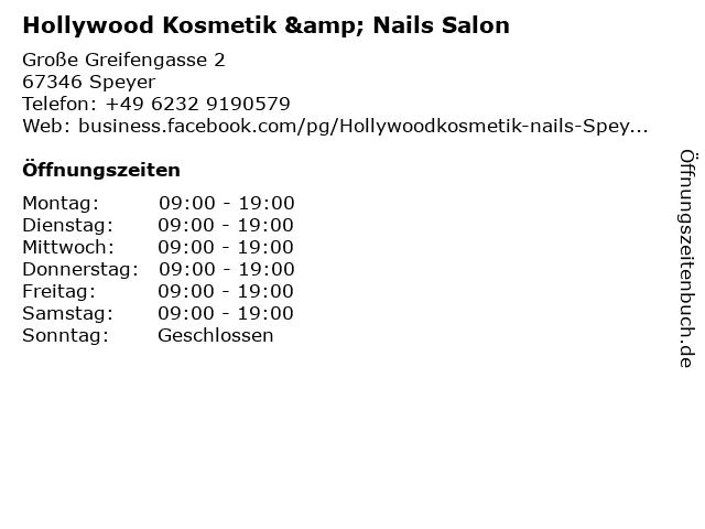 Hollywood Kosmetik & Nails Salon in Speyer: Adresse und Öffnungszeiten