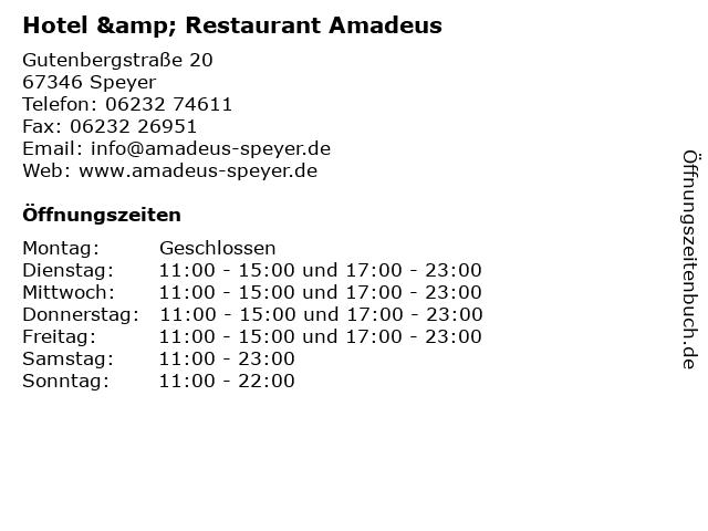 Hotel & Restaurant Amadeus in Speyer: Adresse und Öffnungszeiten