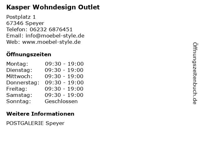 ᐅ Offnungszeiten Kasper Wohndesign Outlet Postplatz 1 In Speyer