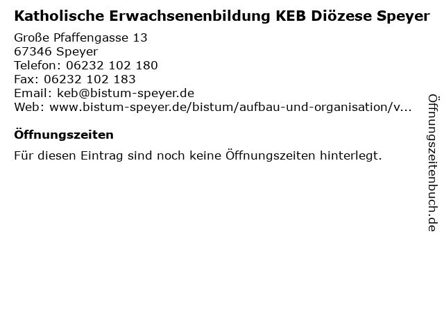 Katholische Erwachsenenbildung KEB Diözese Speyer in Speyer: Adresse und Öffnungszeiten