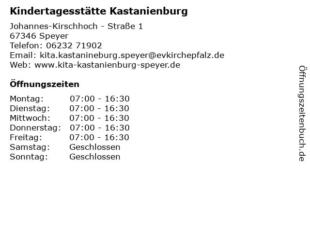 Kindertagesstätte Kastanienburg in Speyer: Adresse und Öffnungszeiten
