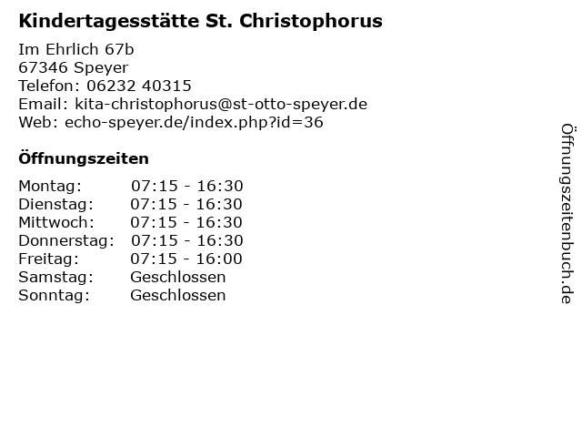 Kindertagesstätte St. Christophorus in Speyer: Adresse und Öffnungszeiten