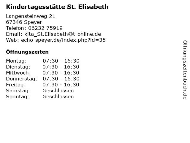 Kindertagesstätte St. Elisabeth in Speyer: Adresse und Öffnungszeiten