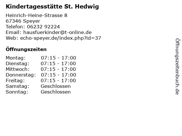 Kindertagesstätte St. Hedwig in Speyer: Adresse und Öffnungszeiten