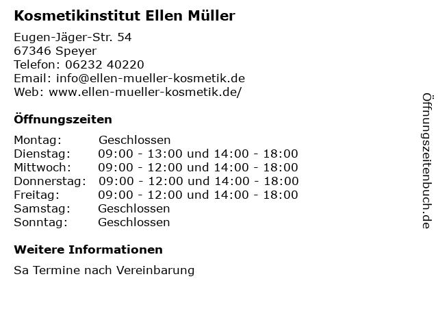 Kosmetikinstitut Ellen Müller in Speyer: Adresse und Öffnungszeiten