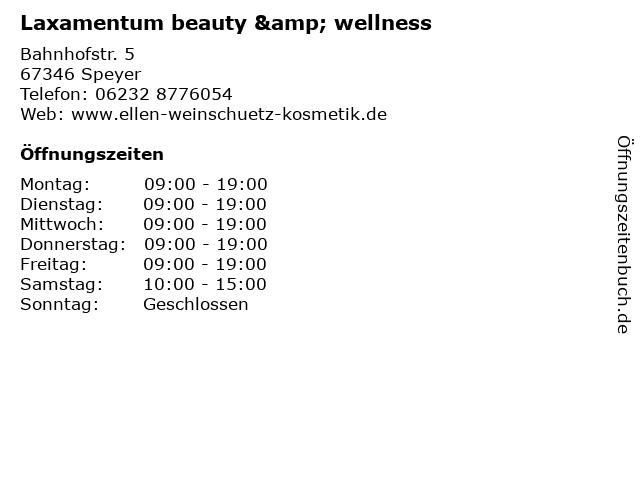 Laxamentum beauty & wellness in Speyer: Adresse und Öffnungszeiten