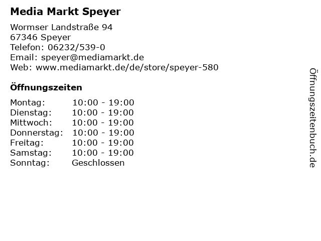Media Markt Speyer in Speyer: Adresse und Öffnungszeiten