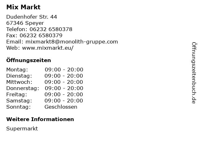 Mix Markt in Speyer: Adresse und Öffnungszeiten