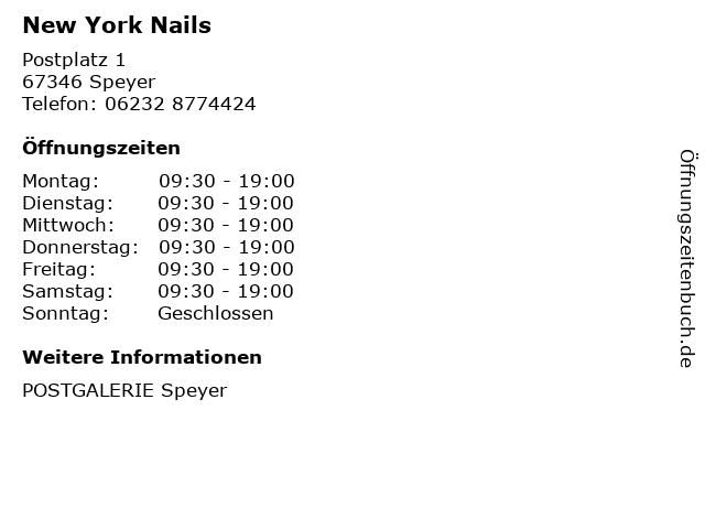 New York Nails in Speyer: Adresse und Öffnungszeiten